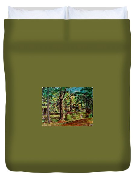 Sisters At Wason Pond Duvet Cover by Sean Connolly
