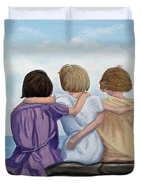 Duvet Cover featuring the painting Sisters by Fran Brooks