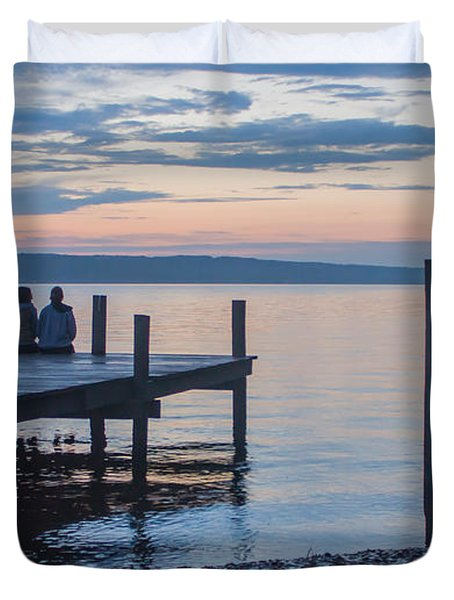 Sisters - Lakeside Living At Sunset Duvet Cover by Photographic Arts And Design Studio