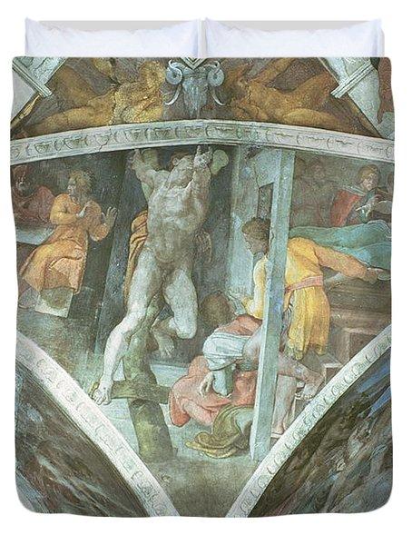Sistine Chapel Ceiling Haman Spandrel Pre Restoration Duvet Cover