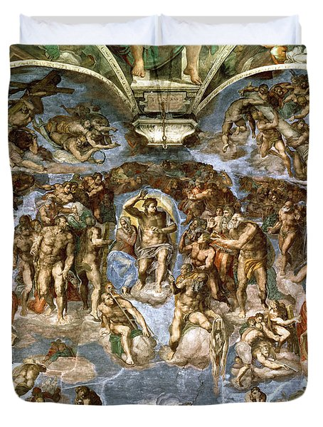 Sistine Chapel The Last Judgement, 1538-41 Fresco Pre-restoration Duvet Cover