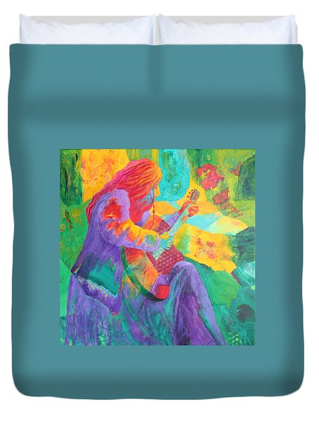 Duvet Cover featuring the painting Sit'n And Pick'n by Nancy Jolley