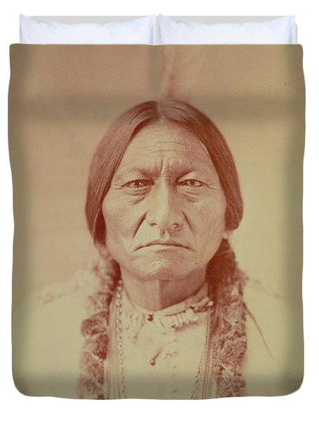 Sitting Bull, Sioux Chief, C.1885 Bw Photo Duvet Cover