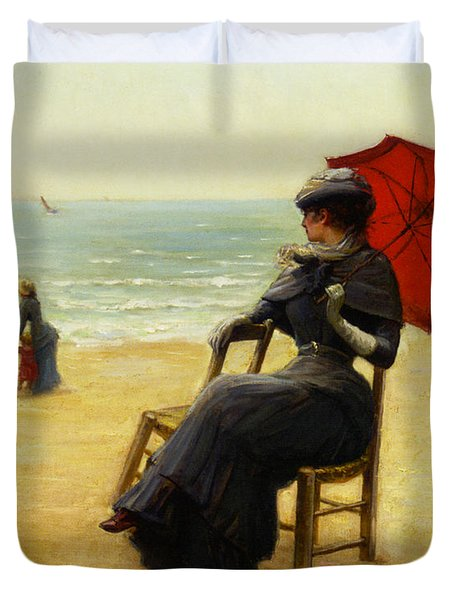 Sitting By The Sea Duvet Cover by Edouard Bisson