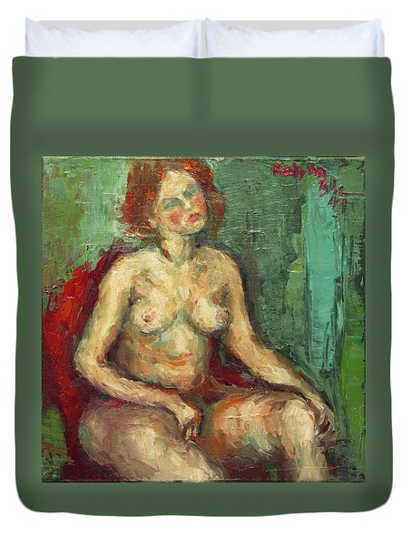 Female Nude In Red Chiar Duvet Cover by Becky Kim