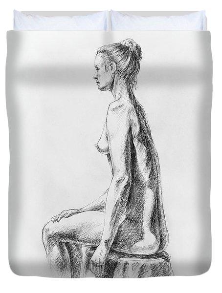 Sitting Woman Study Duvet Cover