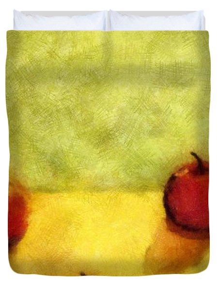 Six Apples Duvet Cover by Michelle Calkins