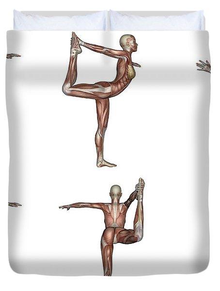 Six Different Views Of Dancer Yoga Pose Duvet Cover