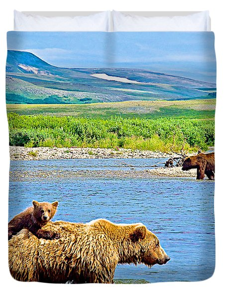 Six-month-old Cub Riding On Mom's Back To Cross Moraine River In Katmai National Preserve-alaska Duvet Cover