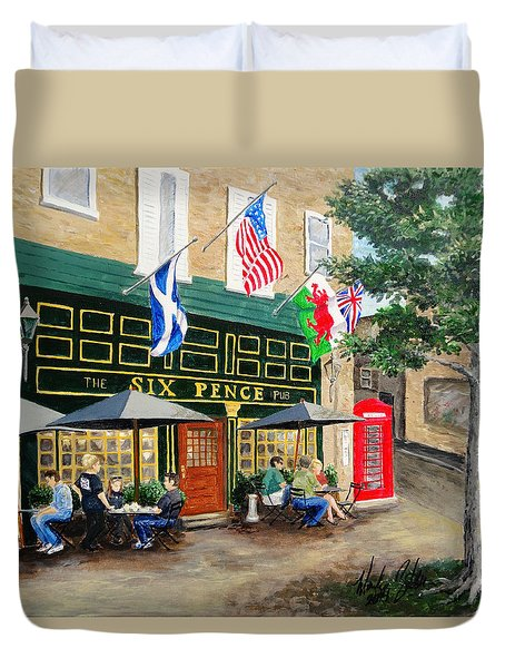 Duvet Cover featuring the painting Six Pence Pub by Marilyn Zalatan