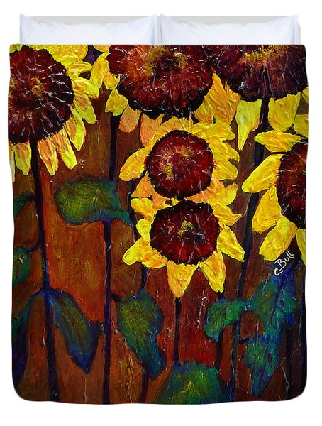 Six Sunflowers Duvet Cover by Claire Bull