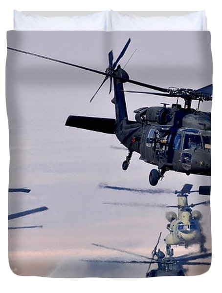 Six Uh-60l Black Hawks And Two Ch-47f Chinooks Duvet Cover by Paul Fearn