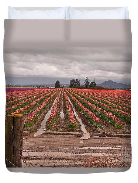 Duvet Cover featuring the photograph Skagit Valley Tulip Farmlands In Spring Storm Art Prints by Valerie Garner