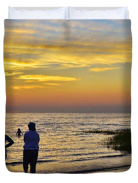 Skaket Beach Sunset 4 Duvet Cover by Allen Beatty