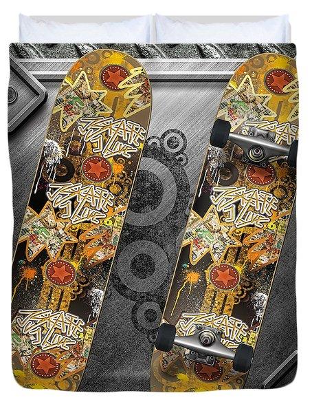 Skateboard Duvet Cover by Mo T