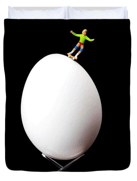 Skateboard Rolling On A Egg Duvet Cover by Paul Ge