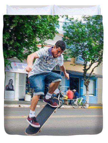 Skateboarding In Brazil Duvet Cover