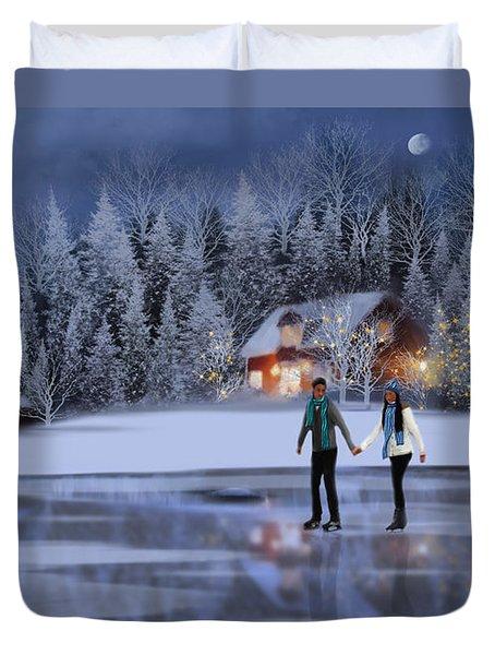 Skating At Christmas Night Duvet Cover