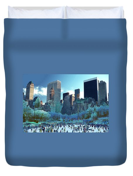Duvet Cover featuring the photograph Skating Fantasy Wollman Rink New York City by Tom Wurl