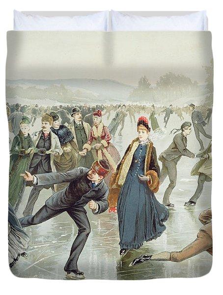 Skating Duvet Cover by Harry Sandham