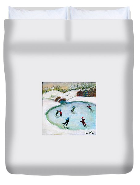 Skating Pond Duvet Cover