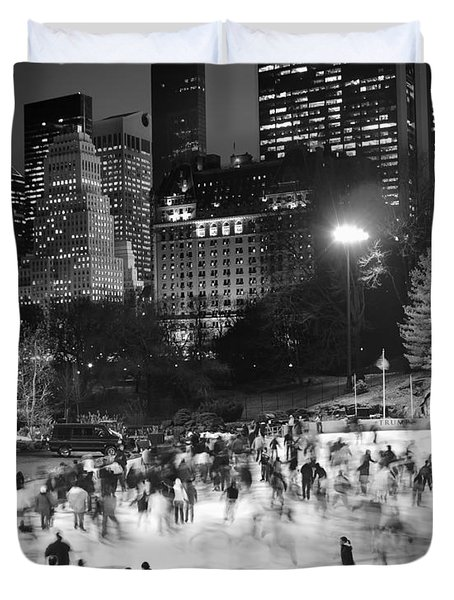 New York City - Skating Rink - Monochrome Duvet Cover