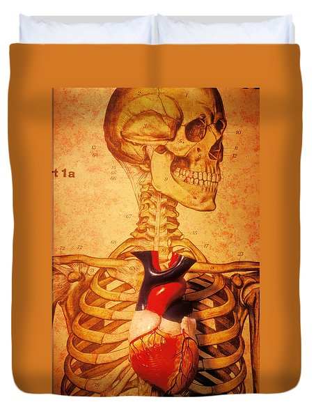Skeleton And Heart Model Duvet Cover
