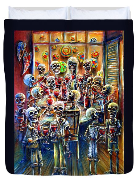 Duvet Cover featuring the painting Skeleton Wine Party by Heather Calderon