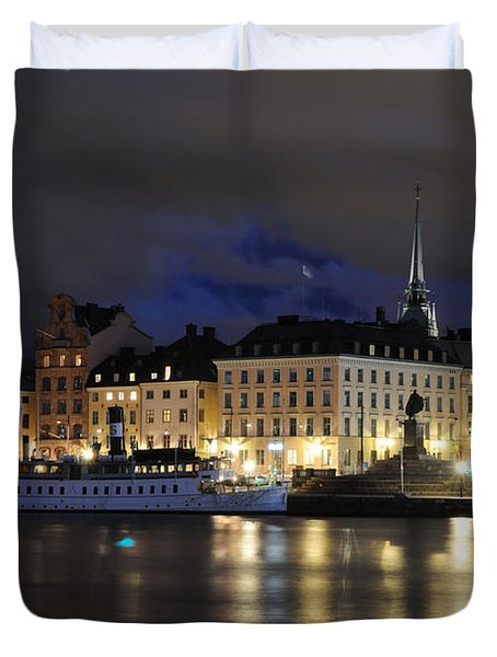 Duvet Cover featuring the photograph Skeppsbron At Night by Jeremy Voisey