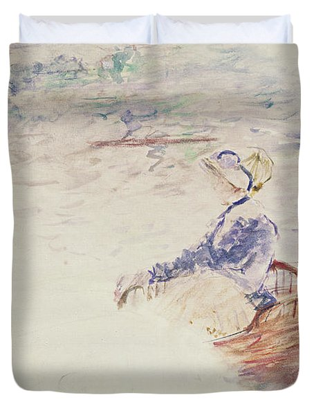 Sketch Of A Young Woman In A Boat Duvet Cover by Berthe Morisot