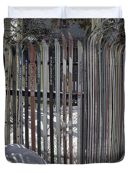 Ski Fence Duvet Cover
