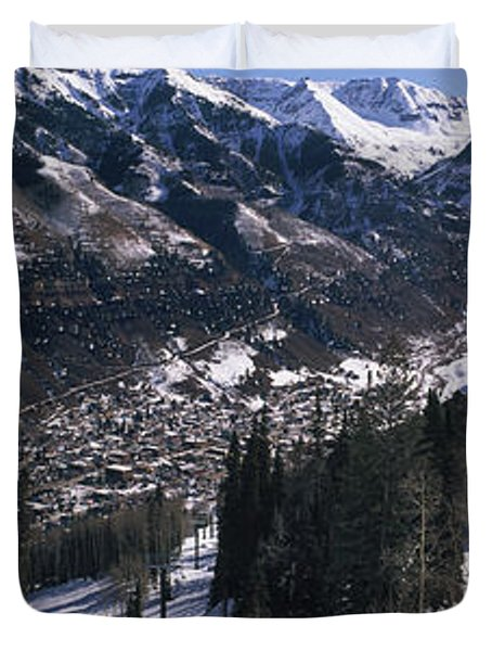 Ski Lifts Over Telluride, San Miguel Duvet Cover