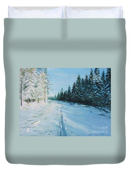 Ski Tracks Duvet Cover by Martin Howard