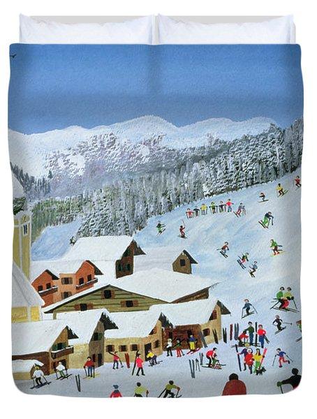 Ski Whizzz Duvet Cover by Judy Joel