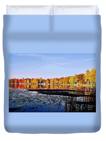 Duvet Cover featuring the photograph Skidway Lake Reflections by Daniel Thompson