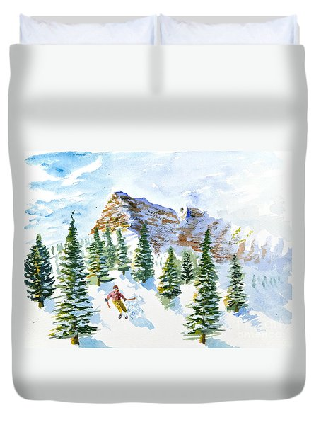 Skier In The Trees Duvet Cover