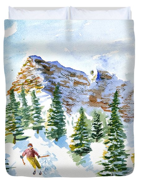 Skier In The Trees Duvet Cover