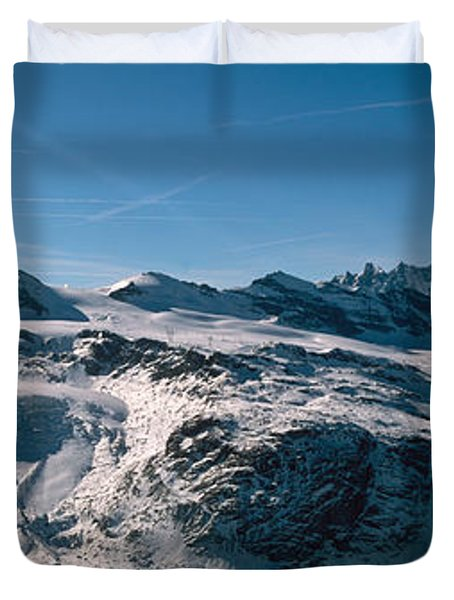 Skiers On Mountains In Winter Duvet Cover