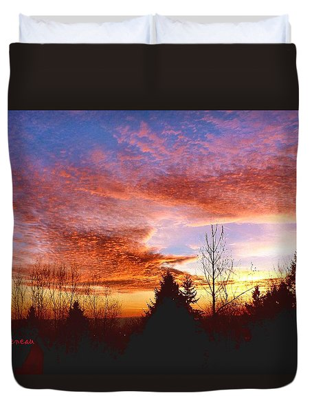 Skies Ablaze Duvet Cover by Sadie Reneau