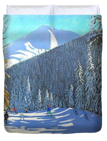 Skiing  Beauregard La Clusaz Duvet Cover