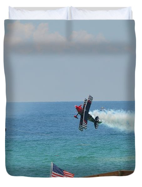 Duvet Cover featuring the photograph Skip Stewart Extreme Low-level Practice by Jeff at JSJ Photography
