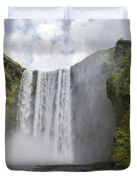 Skogarfoss Waterfall Duvet Cover by For Ninety One Days