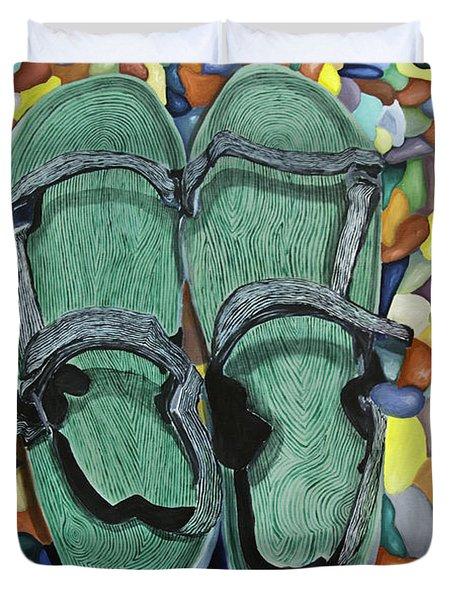 Skopelos Sandals Duvet Cover