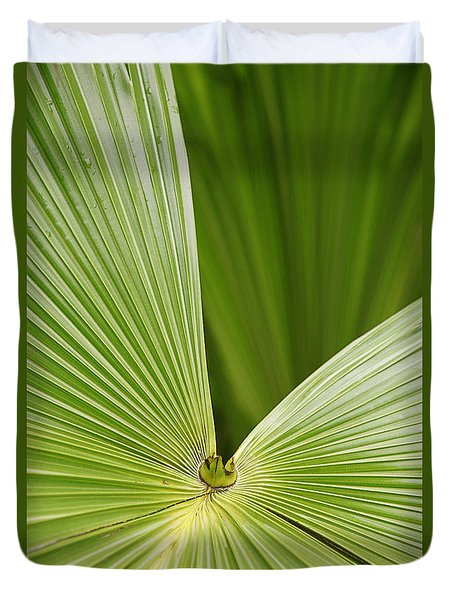 Skc 0691 The Paths Of Palm Meeting At A Point Duvet Cover by Sunil Kapadia