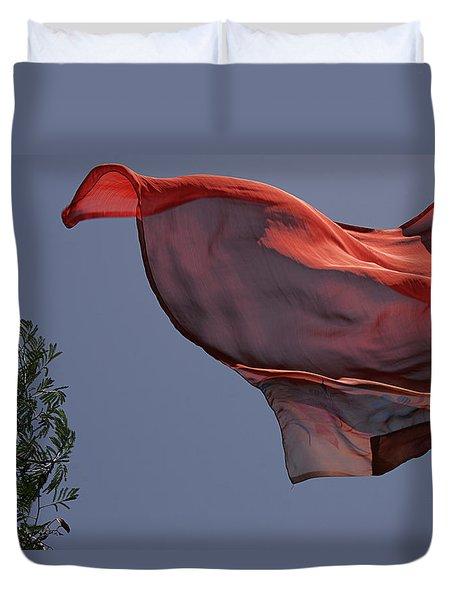 Skc 0958 The Flying Saree Duvet Cover by Sunil Kapadia