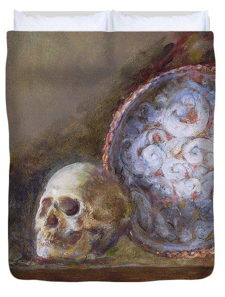 Skull And Plate Oil On Canvas Duvet Cover