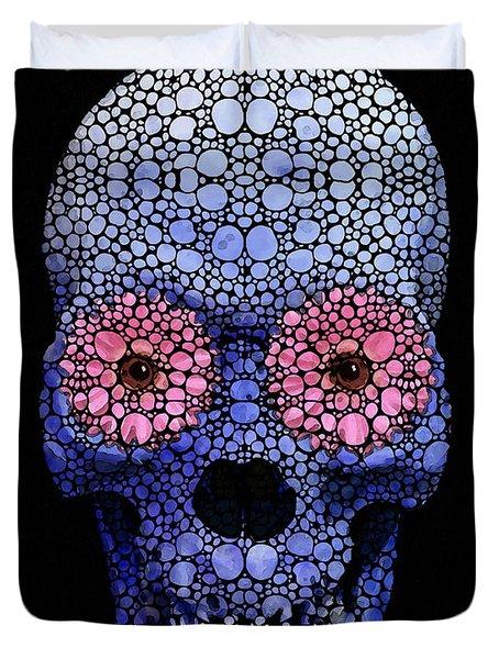 Skull Art - Day Of The Dead 1 Stone Rock'd Duvet Cover by Sharon Cummings