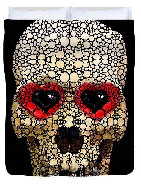 Skull Art - Day Of The Dead 3 Stone Rock'd Duvet Cover