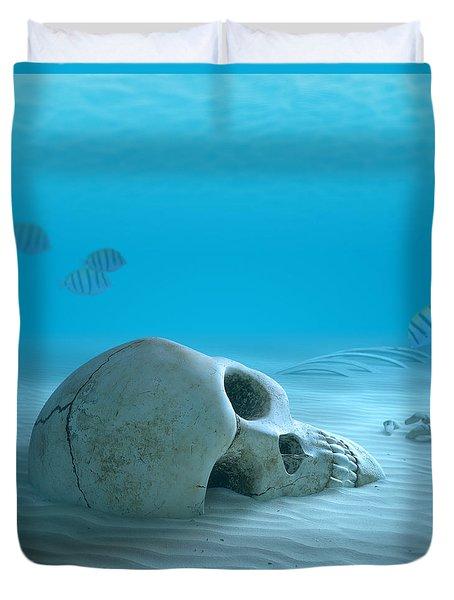 Skull On Sandy Ocean Bottom Duvet Cover by Johan Swanepoel