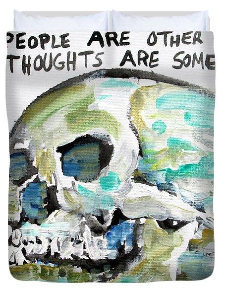 Skull Quoting Oscar Wilde.10 Duvet Cover by Fabrizio Cassetta